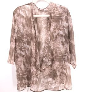 Chico's Chiffon Sheer Open Front Marble Cardigan S